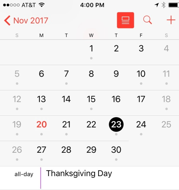 Calendar showing Thanksgiving